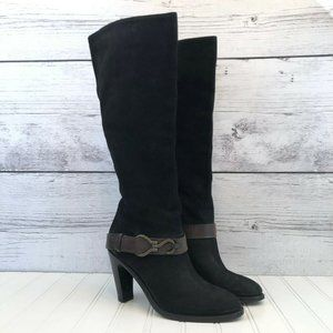 Cole Haan Tall Leather Harnessed Boots Womens 10